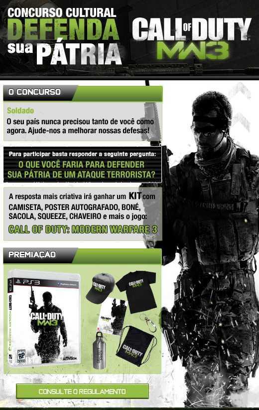 Atenção Soldado! Quer ganhar um Call of Duty: Modern Warfare 3 grátis? [Promoção]