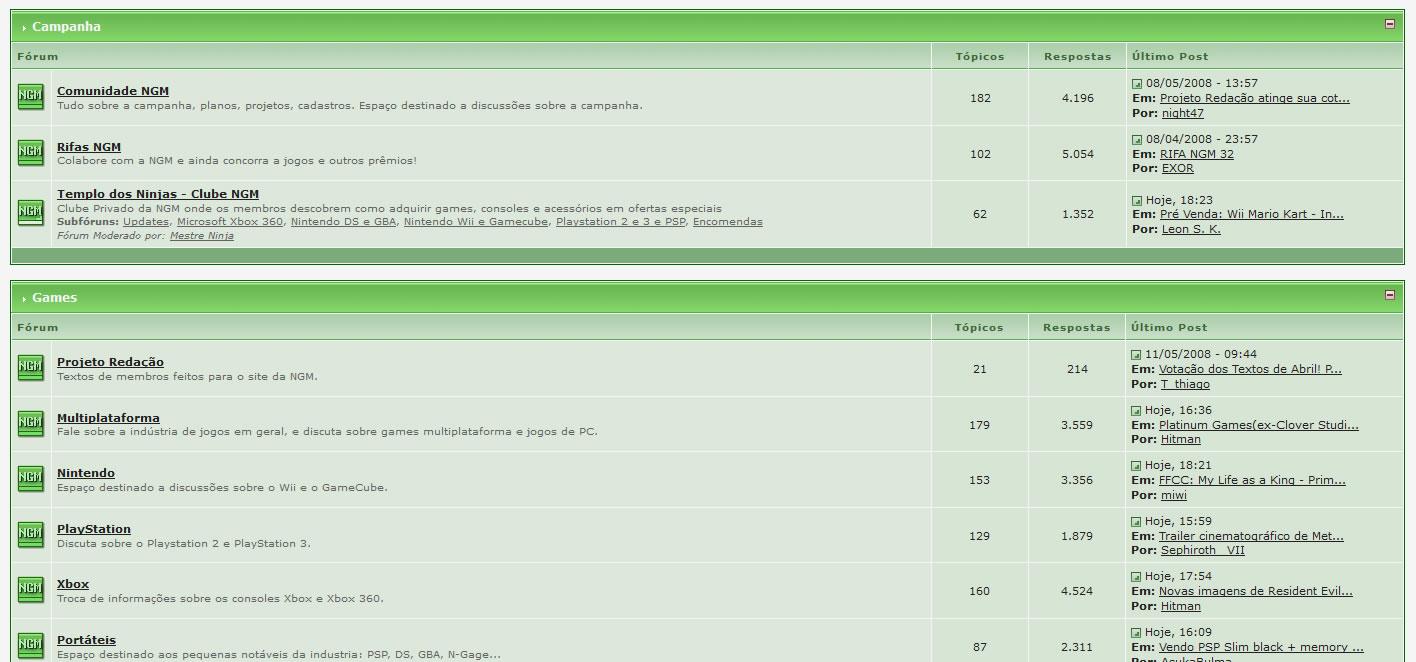 Forum NGM Online - Layout em 2008